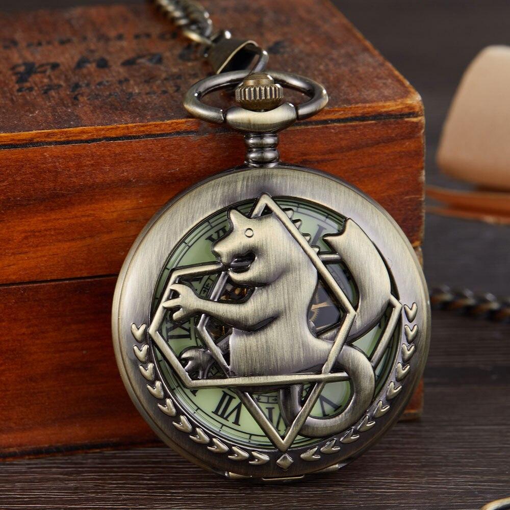 Bronze Tone Fullmetal Alchemist Pocket Watch Mens Women Cosplay Edward Elric Clock Fob Necklace Chain Mechanical Pocket Watch