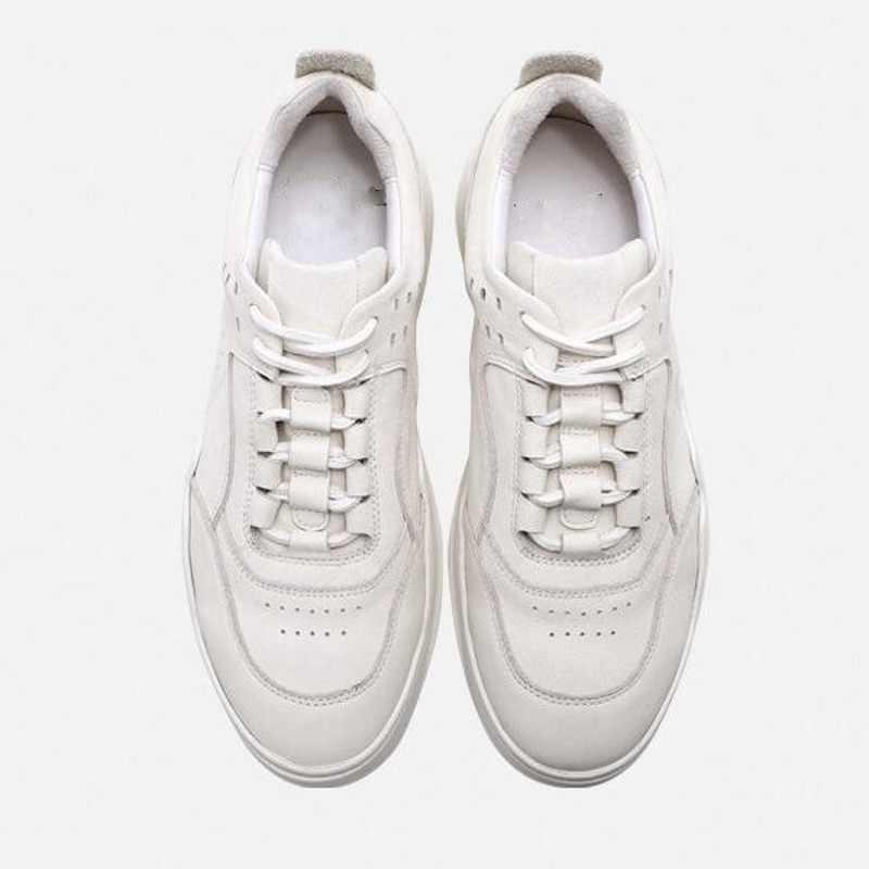 Fashion Genuien Kulit Pria Olahraga Sepatu Kasual Outdoor Korea Bernapas Renda Putaran Kaki Pria Sepatu Datar Sepatu Streetwear