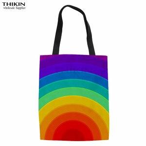 Женская тканевая сумка-Органайзер с разноцветным радужным узором на заказ, большие вместительные сумки для хранения книг для женщин