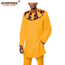 2019 africa bazin richi 2-pieces suit for men AFRIPRIDE tailor made full sleeves top+full length pants mens casual set A1816010