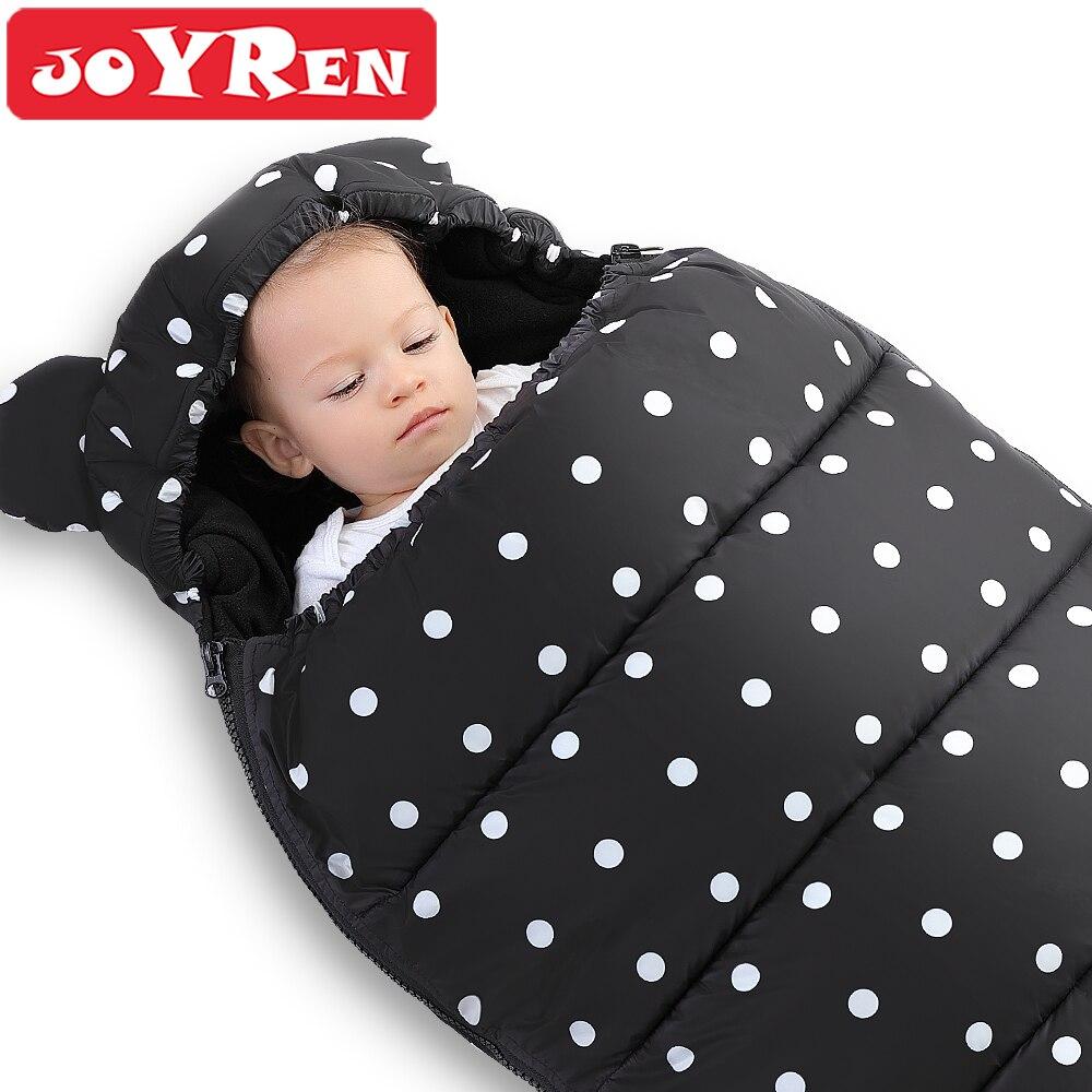 Thick Baby Sleeping Bag Infant Envelope To Extract The Winter Black Polka Dots Newborn Cocoon Fleece Sleepsacks