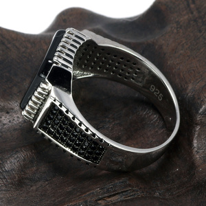 Image 2 - Genuine Solid 925 Sterling Silver Turkish Rings For Men Black Rings With Stone Square Natural Onyx Vintage Male Jewelry Anelli