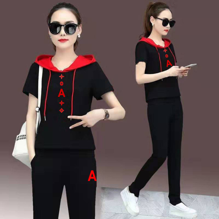 Sports WOMEN'S Suit Summer Short Sleeve Trousers Large Size Leisure Suit-Style Elegant Hoodie Two-Piece Set Fashion