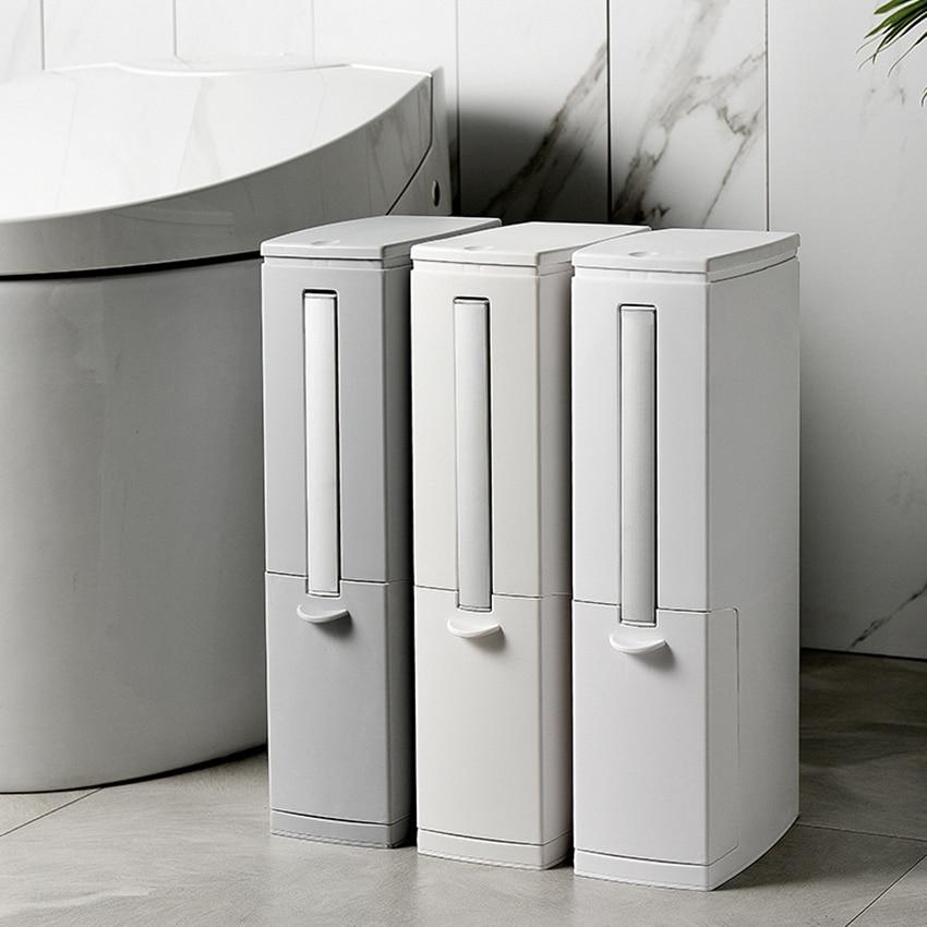 Multi-function Crack Trash Can Toilet Brush Set Narrow Rubbish Bin Dustbin Garbage Bucket With Hidden Toilet Brush Holder