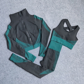 2Pcs/3Pcs Women Tracksuit Seamless Top and Legging Two Piece Set Women Sportswear Fitness Outfits for Women 1