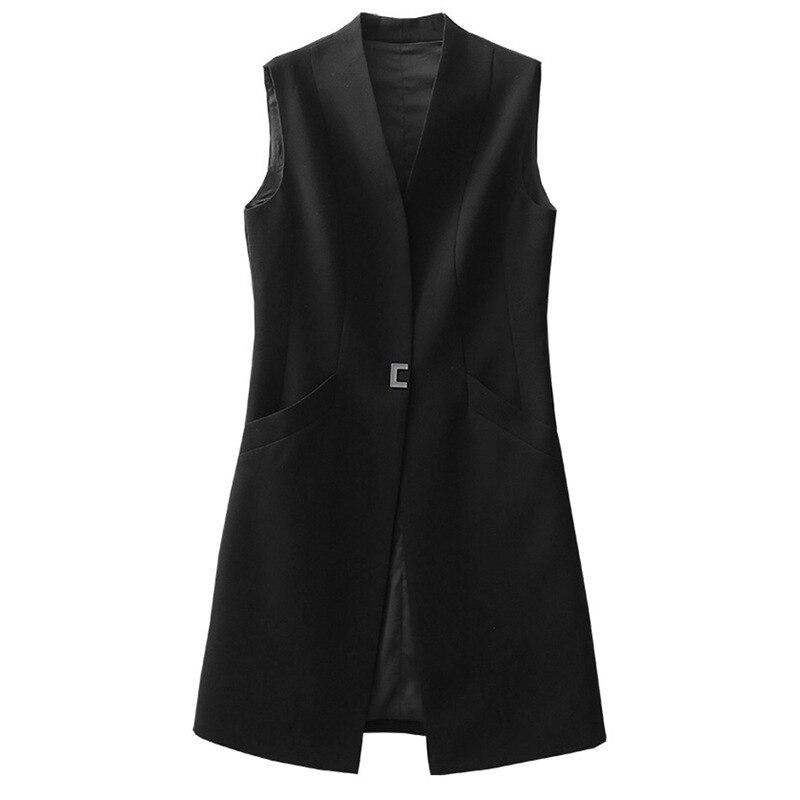 Высококачественный Женский жилет, куртка, черный длинный повседневный костюм, весна осень, модный Женский блейзер без рукавов, элегантный женский Пиджаки    АлиЭкспресс