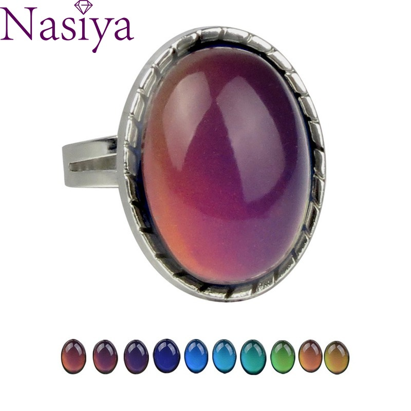 2PCS Charm Retro Gemstone Feeling Warm And Mood Changing Color Ring Opening Adjustment Wholesale