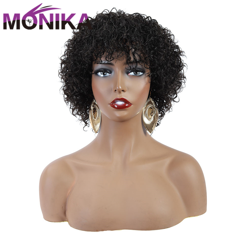 Monika Peruvian Jerry Curl Human Hair Wigs Non-Remy Natural Pixie Cut Wig Machine Made Glueless Afro Wig For Women Free Shipping
