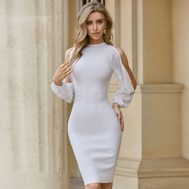 ADYCE 2021 New Autumn Women White Long Sleeve Bandage Dress Sexy Bodycon Mini Celebrity Runway Club Party Bandage Dress Vestidos 1