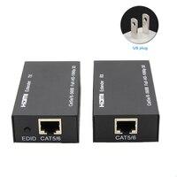 Adapter Home CAT6 1080P Receiver Transmitter RJ45 Ethernet Port Extension HDMI Extender Metal LAN Conversion 60m Black