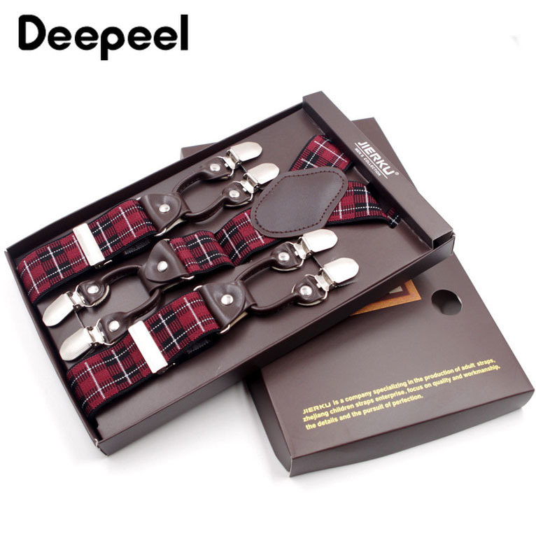 Deepeel 1pc 3.5*125cm New Arrivals Red Square Y Type 6 Clip-on Suspenders Male Elasticity Adjustable Man's Trousers Strap SP080