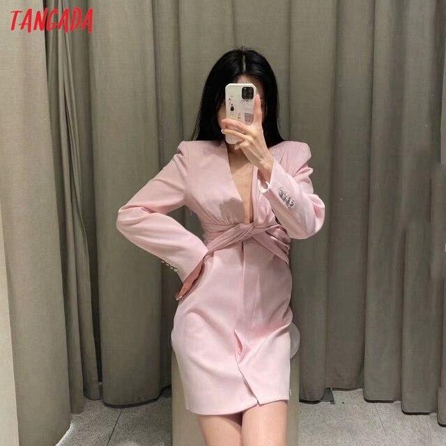 Tangada 2021 Fashion Women Elgant Pleated Party Dress Long Sleeve V Neck Ladies Short Dress 4M131 2