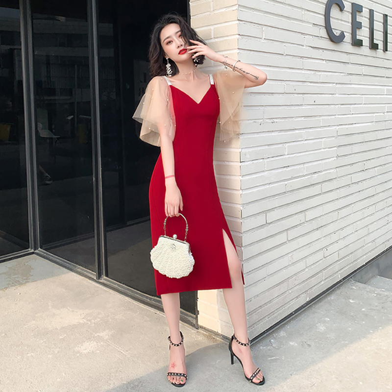 Evening Dress Short Sleeve Women Party Dresses 2019 Soild Crystal Elegant Robe De Soiree Sexy Deep V-neck Formal Gowns F165