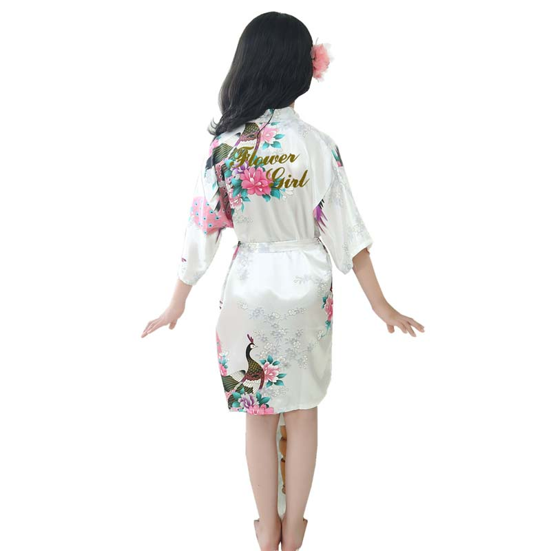 Robes Sleepwear Pajamas Kimono Flower Peignoir Satin Peacock-Print Girl Baby Kids Child