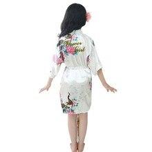 Для малышей и детей постарше девочек халаты Peignoir для малышей, детское платье с цветочным узором для девочек шелковый атласное кимоно; наряд халат, одежда для сна с принтом «павлин» для девочек, пижамы, одежда