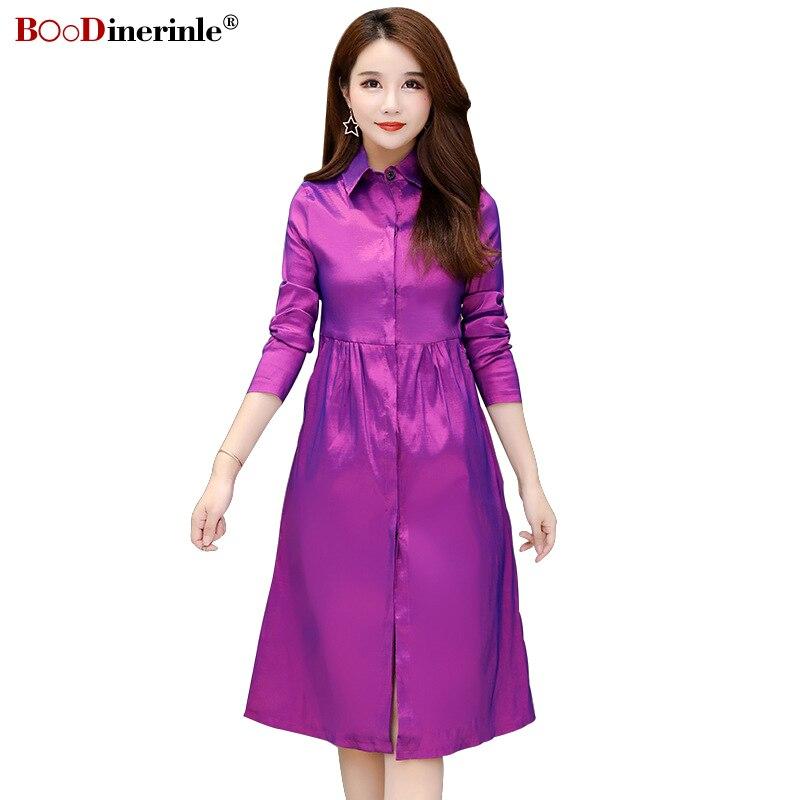 BOoDinerinle Plus Size 5XL Women's   Trench   Coat Autumn Women Elegant Silky Loose Long Coat High Waist Long Sleeve Windbreaker