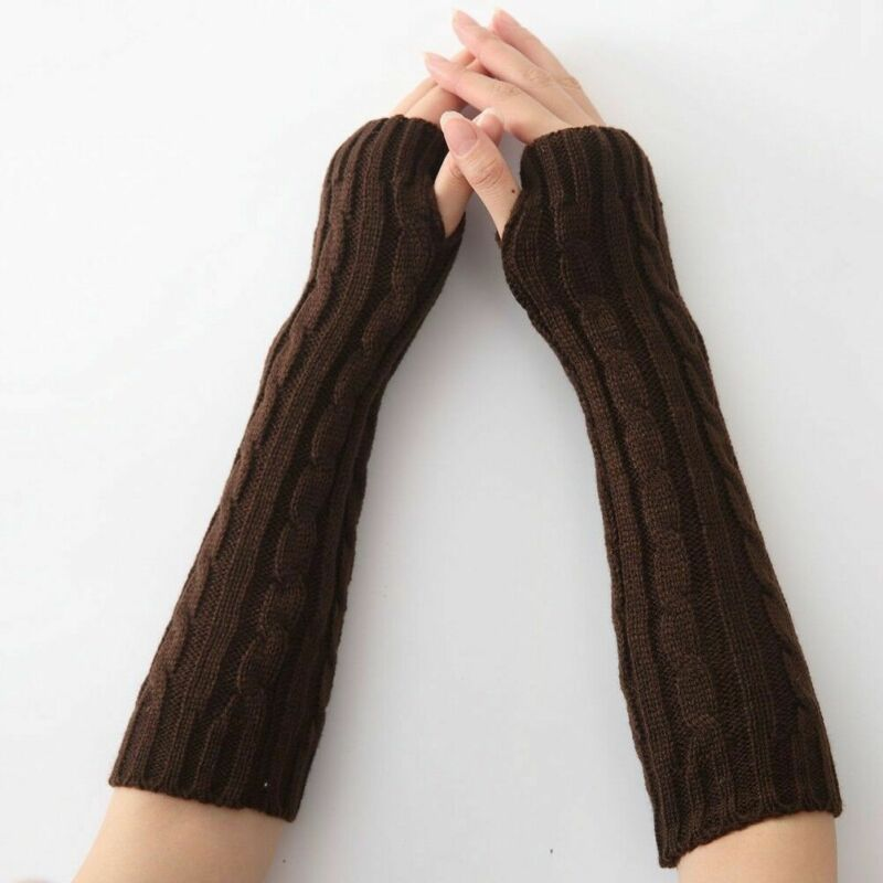 Women Winter Wrist Arm Warmers Cotton Knitted Long Fingerless Gloves Female Mittens Weaving Hand Warmer New Arrival 2019