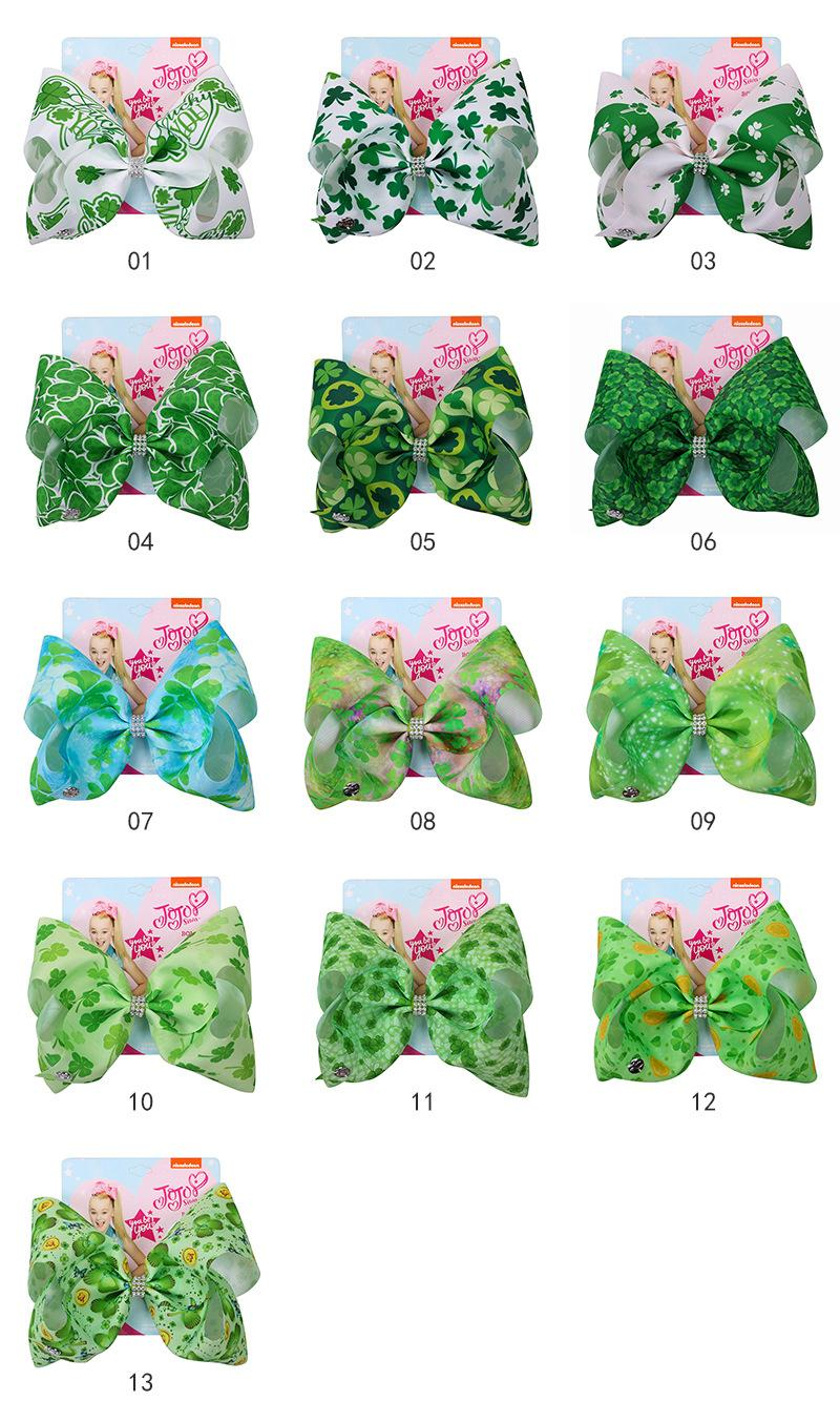 Image 5 - St. Patricks Day Hair Bow Hairpins for Saint Patrick Clover Printed Grosgrain 8INCH Girls Hairband Barrettes Accessories 12pcsHair Accessories   -