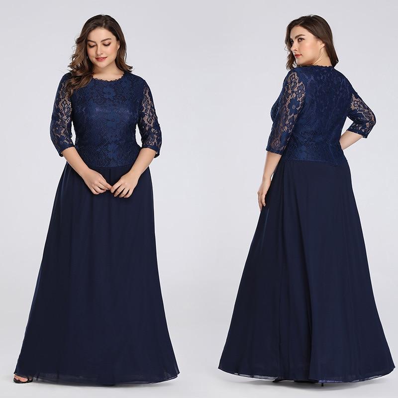 Plus Size Mother Of The Bride Dress Elegant A-Line Chiffon 3/4 Sleeve Lace Long Wedding Party Dresses mam y gwisg briodferch