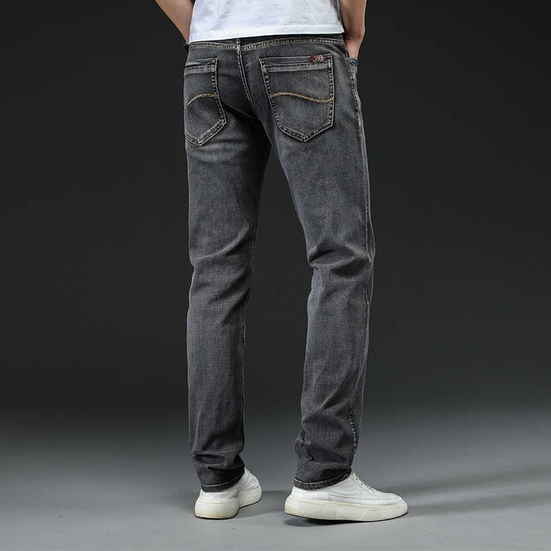 청바지 남성 스트레이트 바지 남성 고품질 슬림 피트 비즈니스 데님 디자이너 캐주얼 바이커 바지 Pantalon Hombre Homme