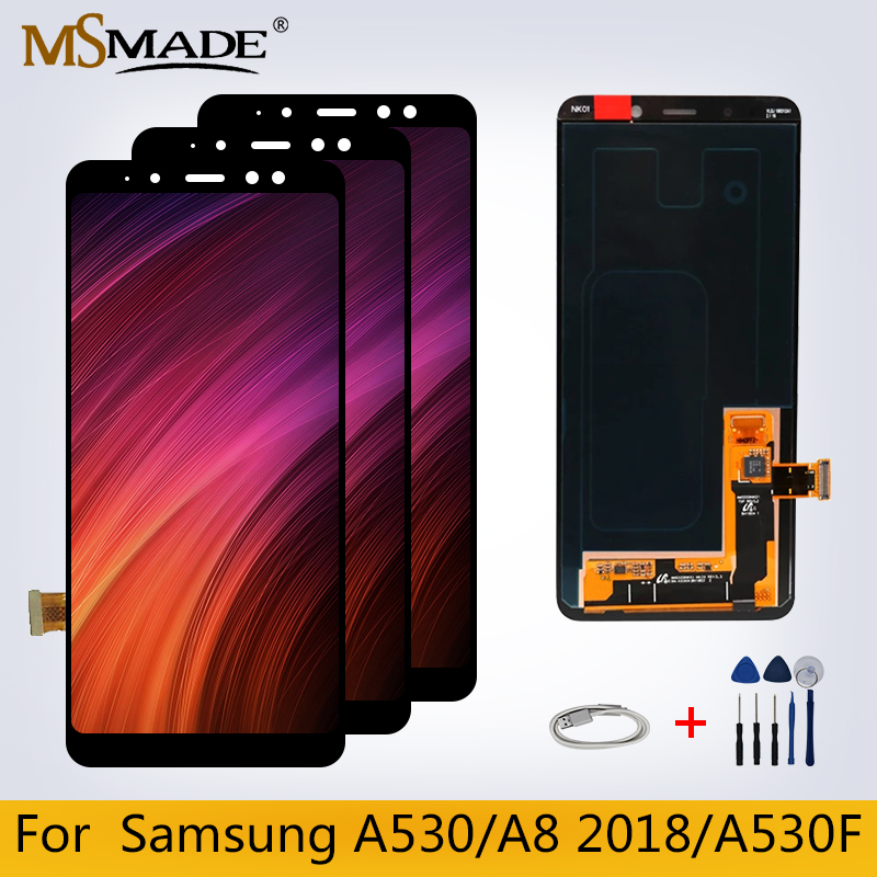 Original LCD For Samsung Galaxy A8 2018 LCD Display A530 <font><b>A530F</b></font> LCD Display Touch <font><b>Screen</b></font> Digitizer <font><b>Replacement</b></font> Part For A530 LCD image