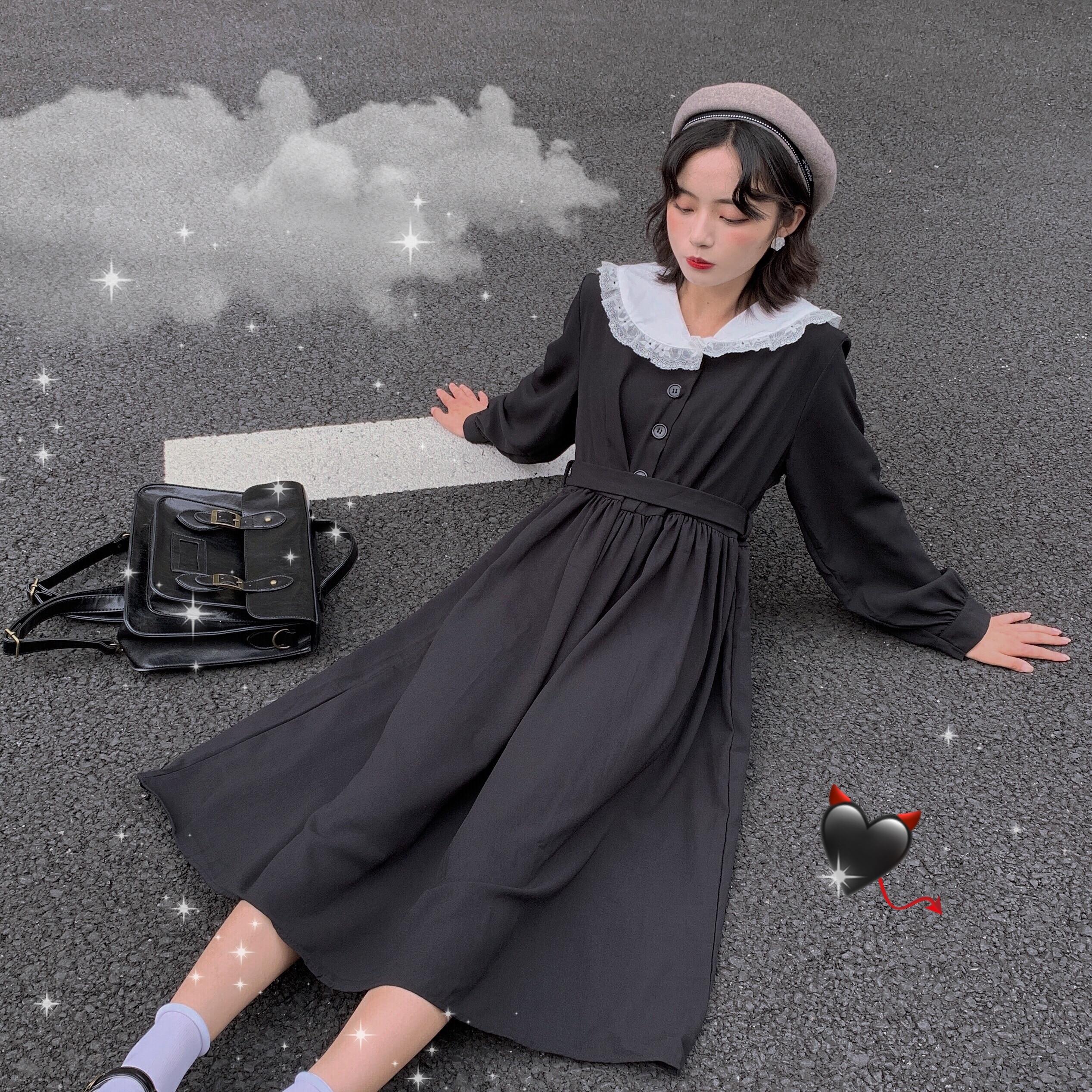 Harajuku Gothic Cosplay Black Sailor Dress Women Lolita Girl Style Lace Collar Vintage Bandage Casual Pleated Long Vestidos 2020