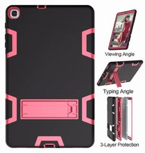 цена на Hybrid Heavy Duty Armor Case For Samsung Galaxy Tab A 10.1 2019 Case Cover T510 T515 Shockproof Silicon Stand Coque SM-T510 T515