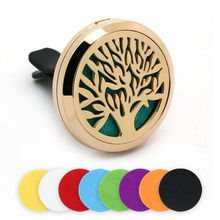 BOFEE Aromatherapy Locket Stainless Steel Perfume Pendant Car Essential Oil Diffuser Vent Clip Tree Round Magnetic Jewelry 30mm bofee stainless steel magnet car essential oil diffuser locket aromatherapy perfume oil locket vent clip jewelry gift 30mm