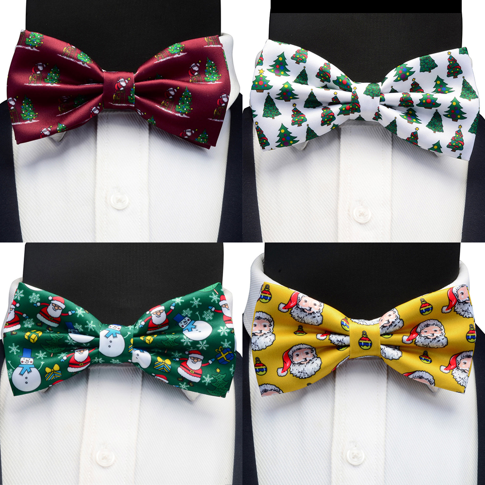 Ricnais New Silk Christmas Bowtie Yellow Red Print Santa Claus Snowman Bow Ties For Men Christmas Festival Party Gift Accessorie