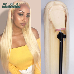 Aircabin 32 30 Inch #613 Color Straight 13x4 Lace Front Wigs For WomenBrazilian Honey Blonde Remy Human Hair Wigs High Density(China)