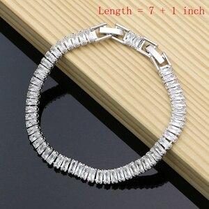 Image 2 - Farba gumowa srebro 925 biżuteria biała cyrkonia sześcienna zestawy biżuterii dla kobiet Party kolczyki/wisiorek/pierścionki/bransoletka/naszyjnik zestaw