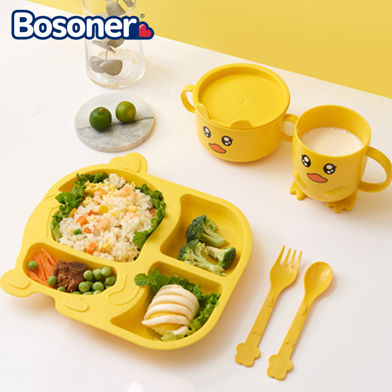 5PCS Children Tableware Plastic Dishes Set Cartoon Kids Training Bowl Plates Food Grade Spoon Fork Cup Children Feeding Plate