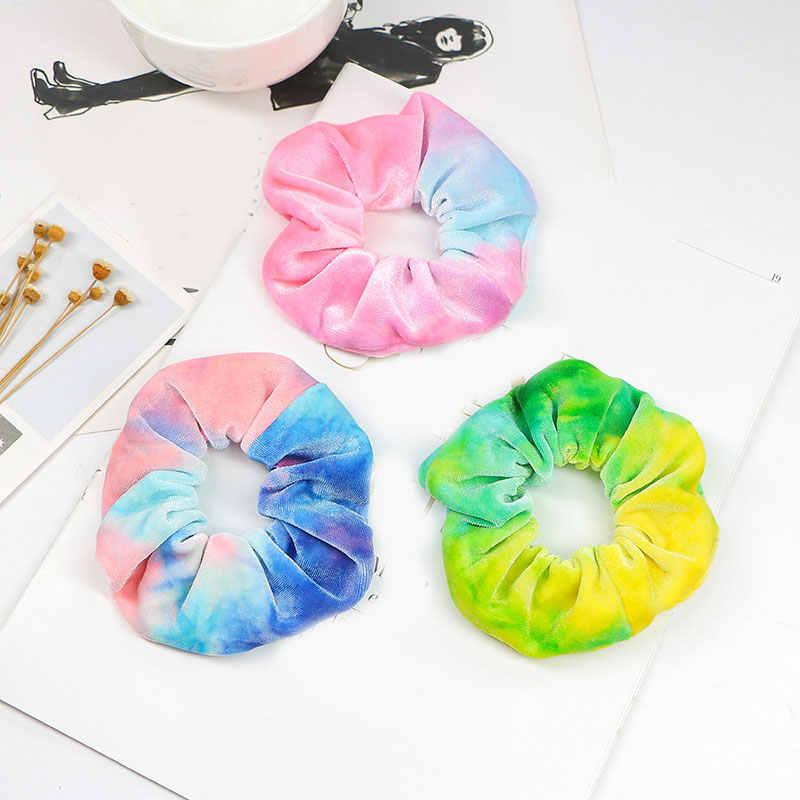 1 шт. неоновые радужные резинки для волос эластичные резинки для волос цветные держатели для конского хвоста яркие аксессуары для волос бархатные резинки для женщин