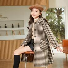 Winter Girls Slim Long Coats For 7 9 11 14 Years Kids Girls Fashion Plaid Print Style Overcoats Child Peter Pan Collar Outerwear