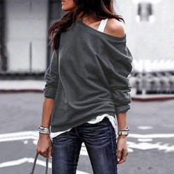 Fashion Women Autumn Casual Long Sleeve Solid T-Shirt Sexy Loose Off Shoulder Top Asymmetrical O-Neck Cotton Pullover