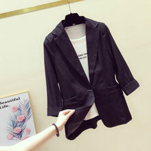 Women Blazer 2020 Spring Summer Lady Office Work Suit Casual Single Button Jackets Coat Slim 3/4 Sleeve Black Blazer Femme