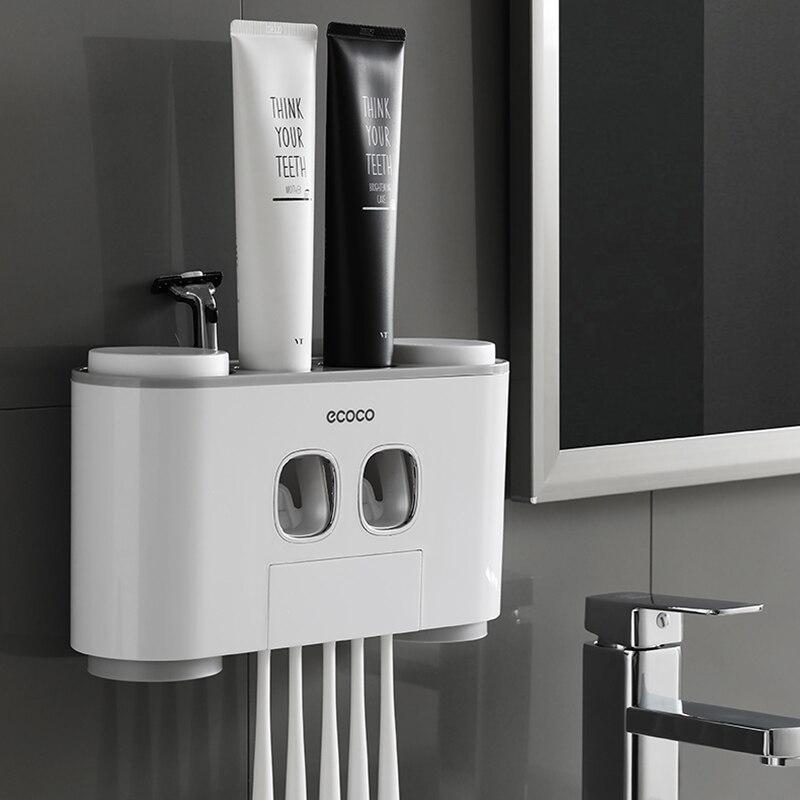 Conjunto automático dispensador de pasta de dentes titular do banheiro wall-mounted rack escova de dentes oral família casa crianças creme dental squeezer