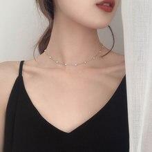 Чокер с жемчугом Женский выразительное тонкое ожерелье в светильник