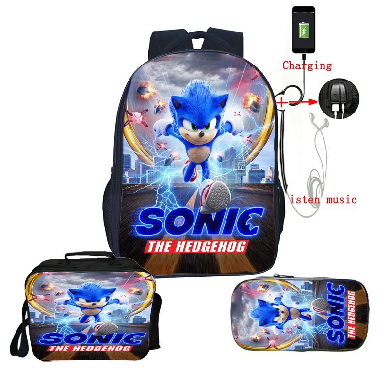 High Quality Sonic Backpack Boys Girls Schoolbags Teens Bookbag Students Back To School Gift 3pcs Set Backpack
