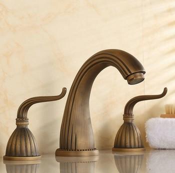 Vintage Retro Antique Brass Deck Mounted Dual Handles Widespread Bathroom 3 Holes Basin Faucet Mixer Water Taps man027