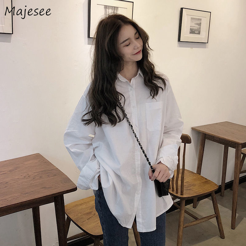 White Blouse Women Long Sleeve Shirts All Match Casual Loose Classic Korean Style Womens Tops and Blouses Harajuku Females Soft