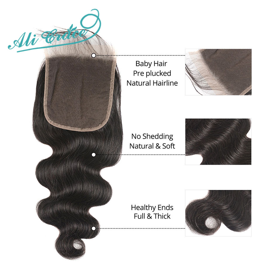 Image 5 - Ali Grace Hair Brazilian Body Wave 3 Bundles With 5x5 Lace Closure Human Hair Bundles with Closure Remy Hair Middle Free Part-in 3/4 Bundles with Closure from Hair Extensions & Wigs