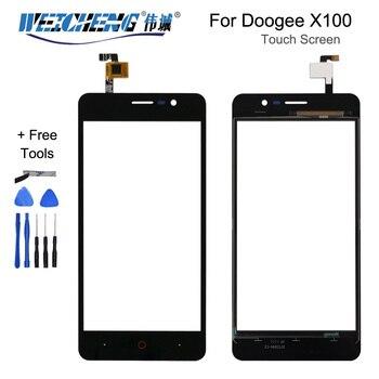 Перейти на Алиэкспресс и купить 5,1 дюймов Для Doogee X100, переднее стекло, сенсорный экран, мобильный телефон для Doogee X100, сенсорный дигитайзер, панель TP + лента Repl