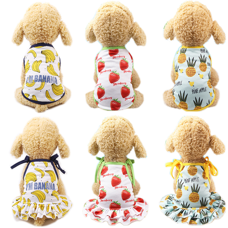 <font><b>Dog</b></font> Couples Dress <font><b>Summer</b></font> <font><b>Dog</b></font> Vest <font><b>Tshirt</b></font> Cute Pet Clothes For Small <font><b>Dogs</b></font> Chihuahua Yorkies Shirts Puppy Cat Skirt Pets Clothing image