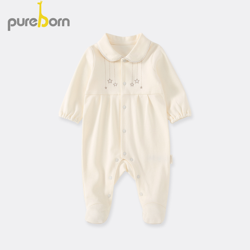 Pureborn Newborn Baby Footies Footed Pajamas Cartoon Cotton Clothes For Baby Boys Baby Girls Spring Autumn Costumes