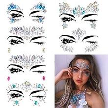 цена на 6 Sets Women Mermaid Face Gems Glitter,Rhinestone Rave Festival Face Jewels,Crystals Face Stickers,Eyes Face Body Temporary Ta