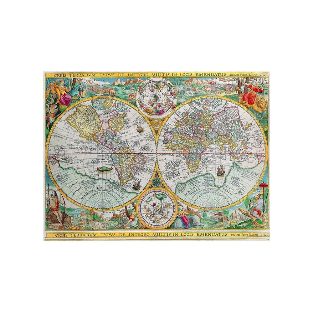 Orbis Terrarvm Typvs De Integro Multis In Locis Emendatus 1594 Latin Vintage World Map 150x100cm Non-woven Collapsible