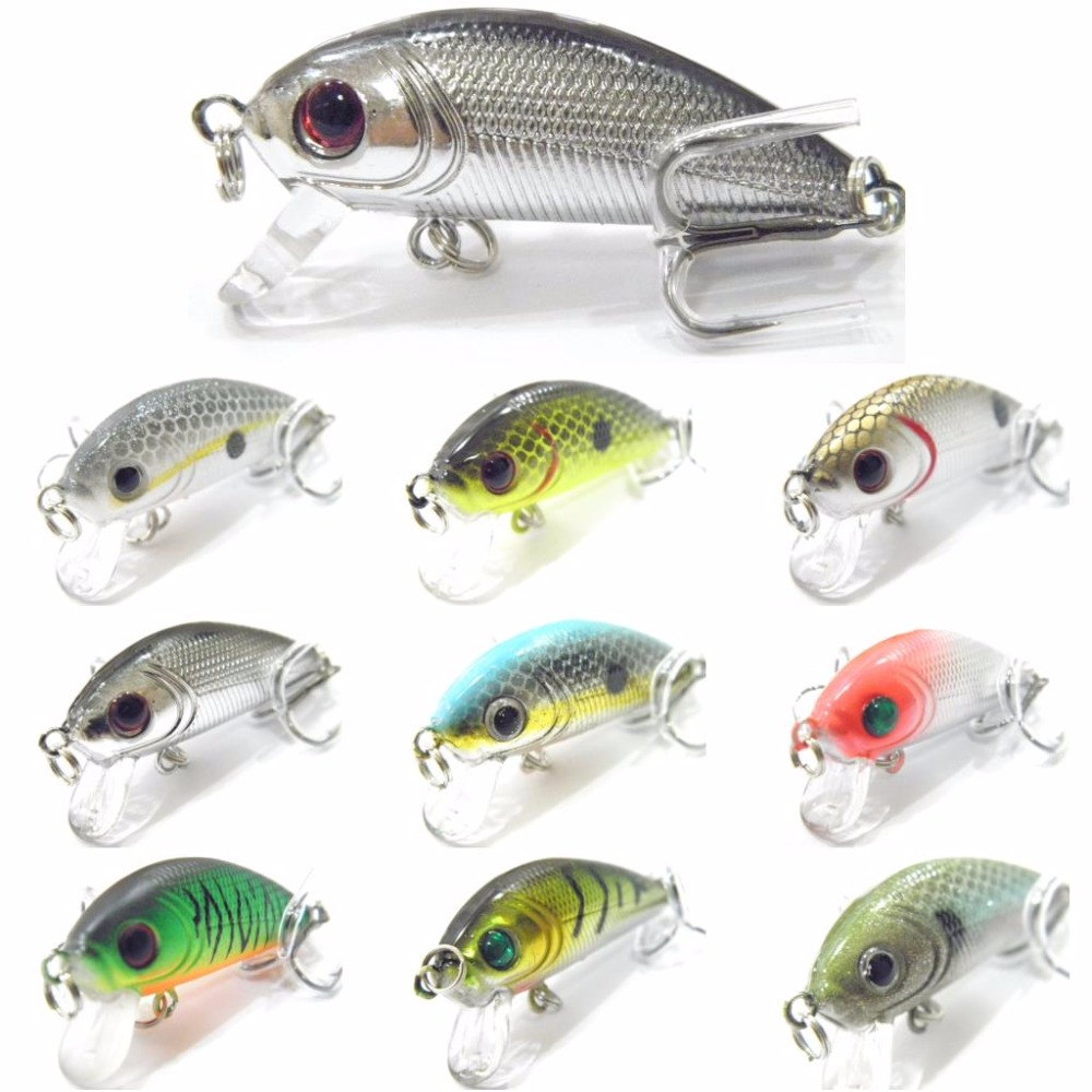 WLure 5g 4.5cm Small Size Sinking To Bottom Lightweight 10# Treble Hooks Assorted Colors Crankbait Fishing Lures C544
