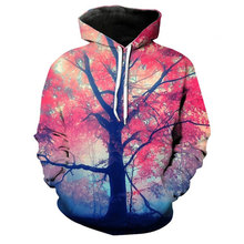 New Fashion Couples Hoodies Sweatshirt 3D Colorful Galaxy Tree Print Casual Sport Long Sleeved