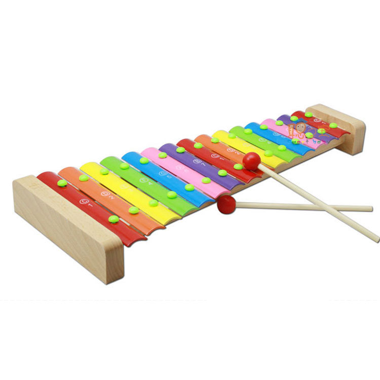 Wooden Building Blocks 15 Sound Toy Piano Aluminum Sheet Wood Knock Piano Toy Children'S Educational Sounding Toys Standard Pron